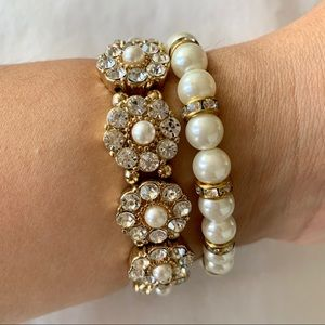 Set of 2 Gold and Pearl Evenings Bracelets